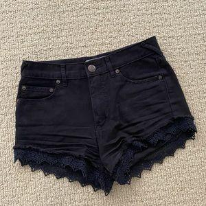 Free people black denim shorts lace trim 25